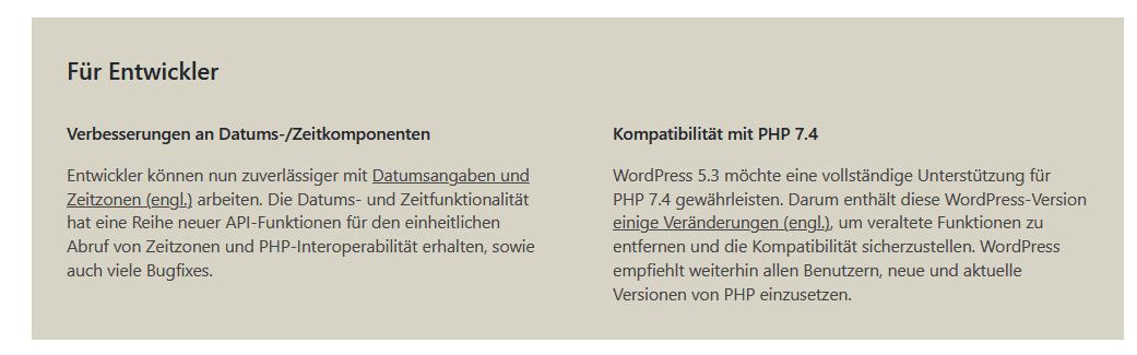 Wordpre Update 5.3 Neuerungen